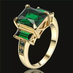 Green Emerald Ring, 18K Yellow Gold Filled Size 6